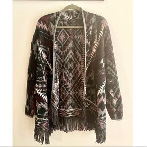 Lucky Brand Aztec Cardigan Sweater with Fringe